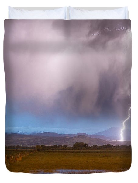 C2G Lightning Bolts Striking Longs Peak Foothills 6 Duvet Cover by James BO  Insogna