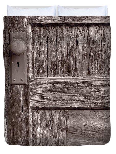Cabin Door BW Duvet Cover by Steve Gadomski