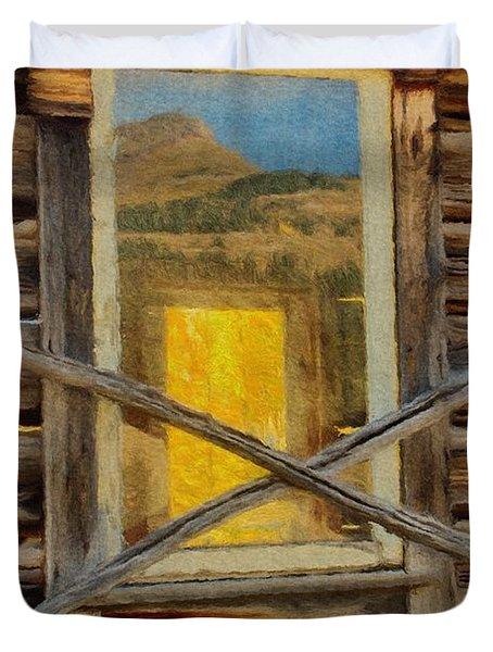 Cabin Windows Duvet Cover by Jeff Kolker