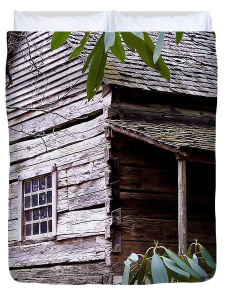 Cades Cove Cabin Duvet Cover by Jim Finch