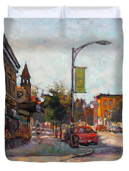 Caffe' Aroma In Elmwood Ave Duvet Cover by Ylli Haruni