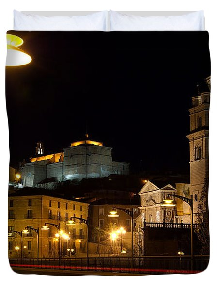 Calahorra Cathedral At Night Duvet Cover by RicardMN Photography