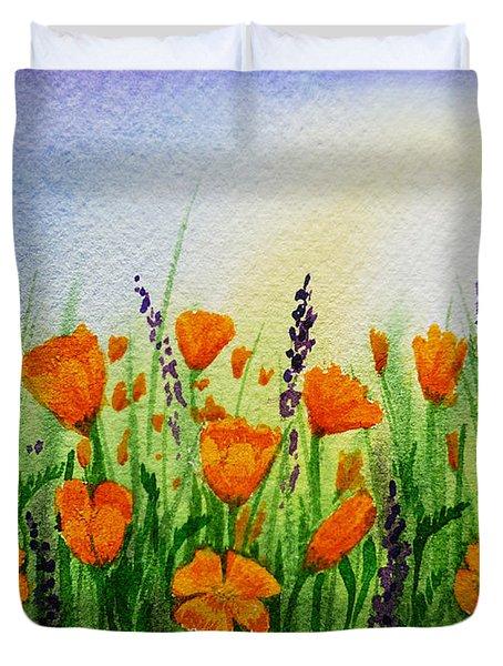 California Poppies Field Duvet Cover by Irina Sztukowski