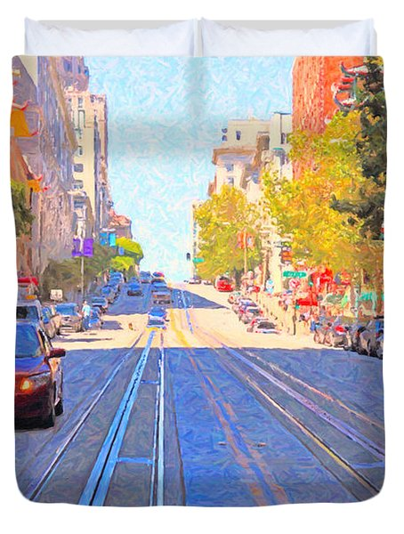 California Street In San Francisco Looking Up Towards Chinatown 2 Duvet Cover by Wingsdomain Art and Photography