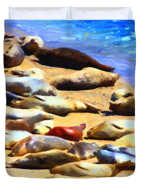California Sunbathers . Harbor Seals Duvet Cover by Wingsdomain Art and Photography