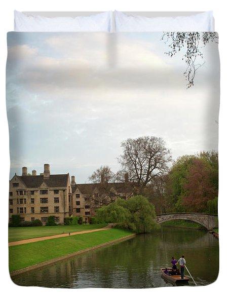 Cambridge Clare College Stream And Boat Duvet Cover by Douglas Barnett