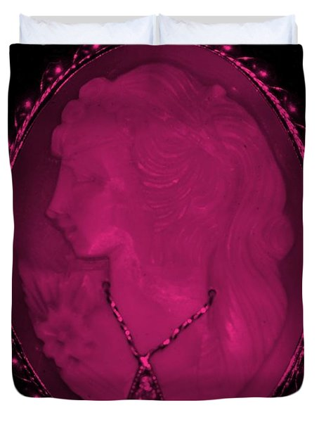 Cameo In Hot Pink Duvet Cover by Rob Hans