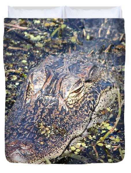 Camouflaged Gator Duvet Cover by Carol Groenen