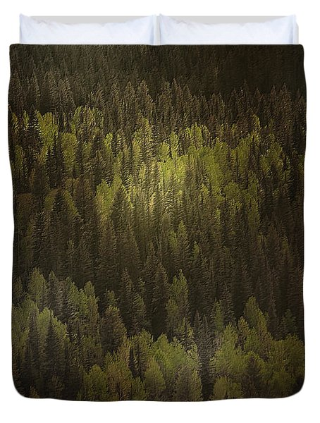 Canadian Forest - The Woods Are Lovely Dark And Deep Duvet Cover by Christine Till