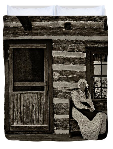 Canadian Gothic sepia Duvet Cover by Steve Harrington