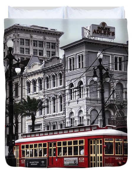 Canal Street Trolley Duvet Cover by Tammy Wetzel