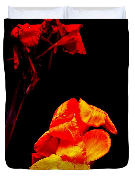 Canna Lilies On Black Duvet Cover by Mother Nature