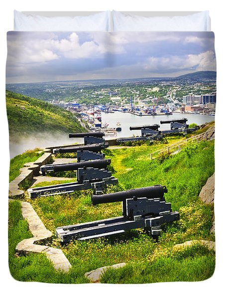 Cannons on Signal Hill near St. John's Duvet Cover by Elena Elisseeva