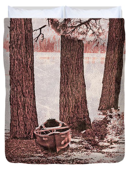Canoe In The Woods Duvet Cover by Cheryl Young
