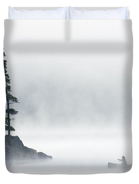 Canoeing Through Fog On Lake Of Two Duvet Cover by Mike Grandmailson