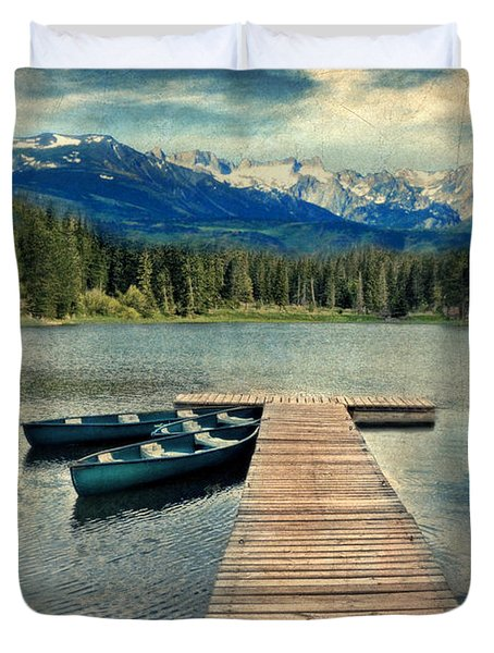 Canoes At Dock On Mountain Lake Duvet Cover by Jill Battaglia