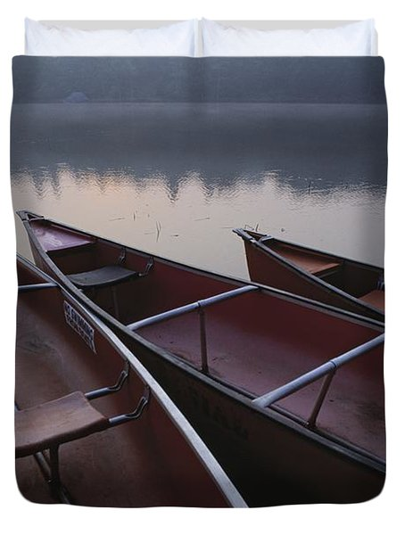 Canoes On Still Water Duvet Cover by Natural Selection John Reddy