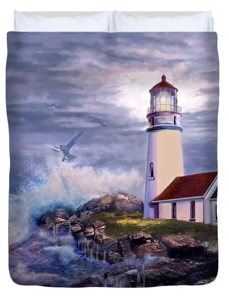 Cape Blanco Oregon Lighthouse On Rocky Shores Duvet Cover by Gina Femrite