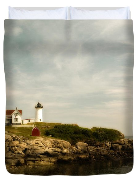 Cape Neddick Lighthouse Duvet Cover by Warren Carrington