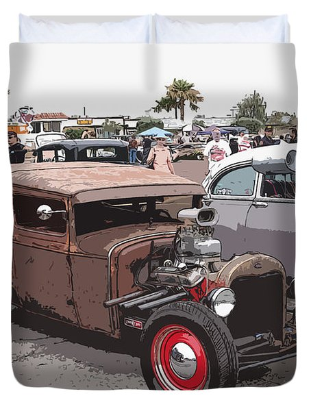 Car Show 1928 Duvet Cover by Steve McKinzie