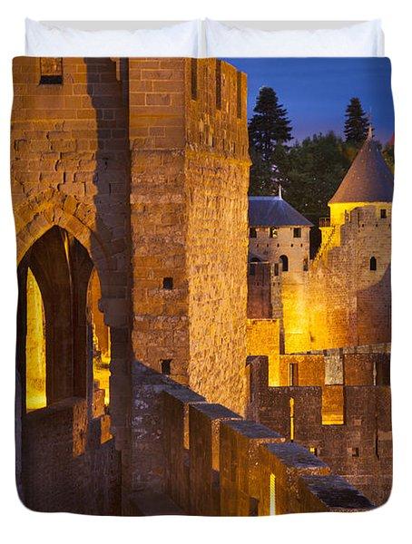 Carcassonne Ramparts Duvet Cover by Brian Jannsen