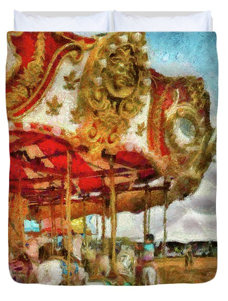 Carnival - The Merry-go-round Duvet Cover by Mike Savad