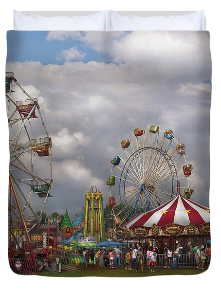 Carnival - Traveling Carnival Duvet Cover by Mike Savad