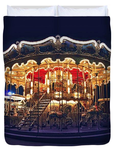 Carousel In Paris Duvet Cover by Elena Elisseeva