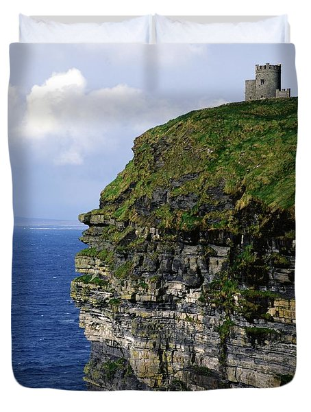 Castle On A Cliff, Obriens Tower Duvet Cover by The Irish Image Collection