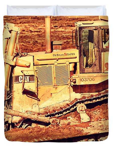 Cat Bulldozer . 7d10945 Duvet Cover by Wingsdomain Art and Photography
