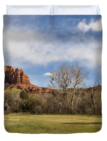 Cathedral Rock From The Park Duvet Cover by Darcy Michaelchuk