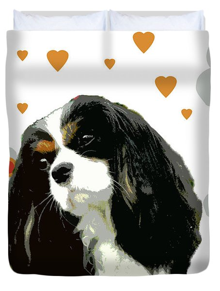 Cavalier King Charles Spaniel Duvet Cover by One Rude Dawg Orcutt