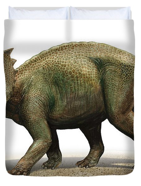 Centrosaurus Apertus, A Prehistoric Era Duvet Cover by Sergey Krasovskiy