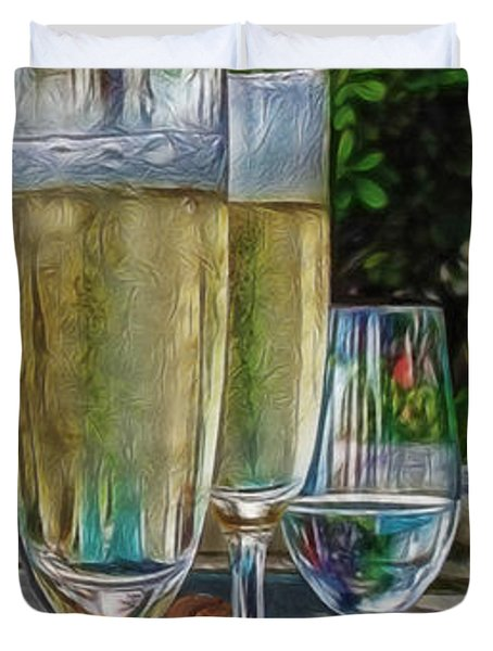 Champagne At The Beach Duvet Cover by Joan  Minchak