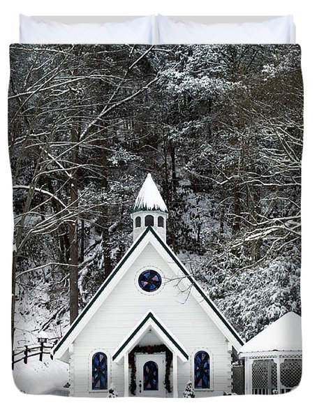 Chapel in the Snow - D007592 Duvet Cover by Daniel Dempster