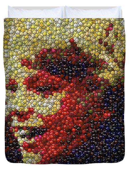 Charlie Buckets Fizzy Lifting Drinks  Bottle Cap Mosaic Duvet Cover by Paul Van Scott