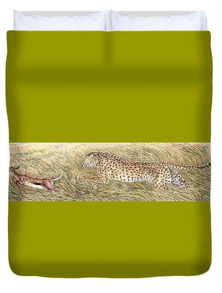 Cheetah And Gazelle Fawn Duvet Cover by Tim McCarthy