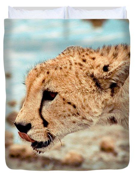 Cheetah Headshot Duvet Cover by Darcy Michaelchuk