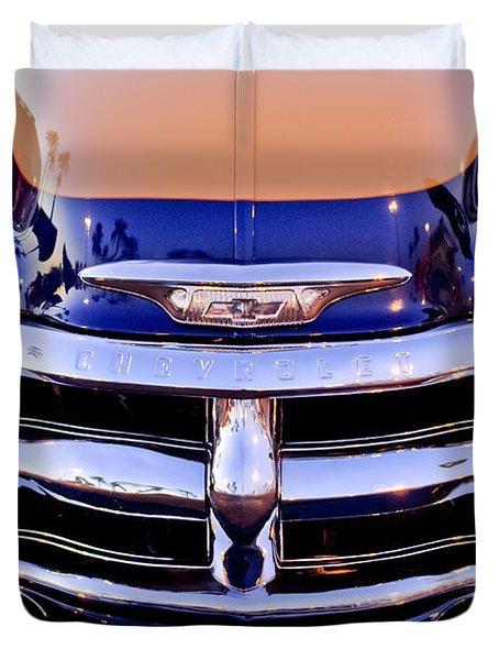 Chevrolet Pickup Truck Grille Emblem Duvet Cover by Jill Reger