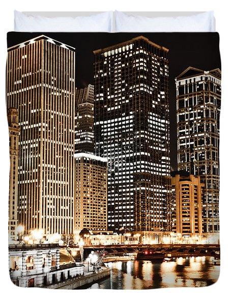 Chicago City Skyline At Night Duvet Cover by Paul Velgos