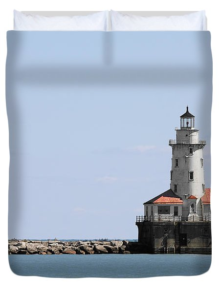 Chicago Harbor Light Duvet Cover by Christine Till