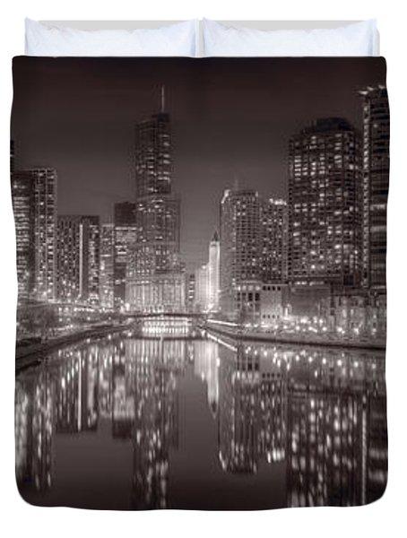 Chicago River East BW Duvet Cover by Steve Gadomski