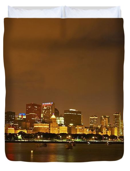 Chicago Skyline At Night Duvet Cover by Axiom Photographic