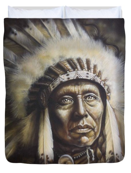 Chief Duvet Cover by Tim  Scoggins