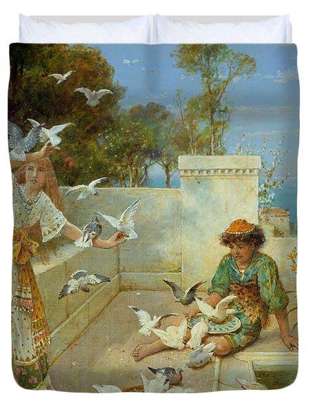 Children By The Mediterranean  Duvet Cover by William Stephen Coleman