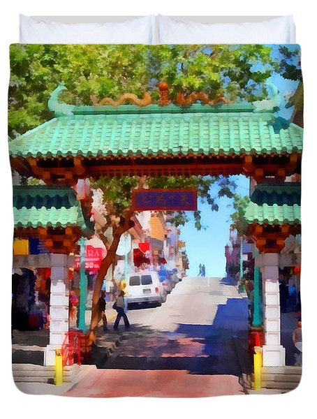 Chinatown Gate In San Francisco . 7d7139 Duvet Cover by Wingsdomain Art and Photography