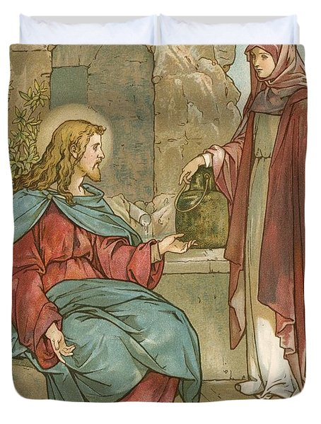 Christ And The Woman Of Samaria Duvet Cover by John Lawson