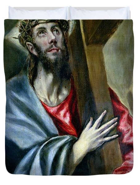 Christ Clasping The Cross Duvet Cover by El Greco