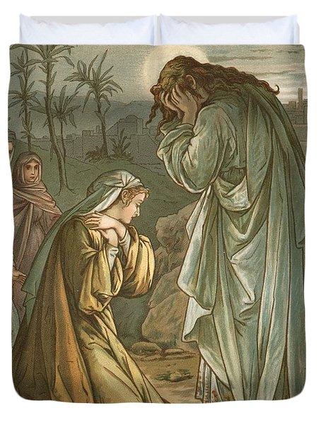 Christ In The Garden Of Gethsemane Duvet Cover by John Lawson