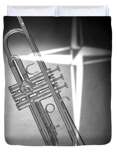 Christian Cross On Trumpet Duvet Cover by M K  Miller